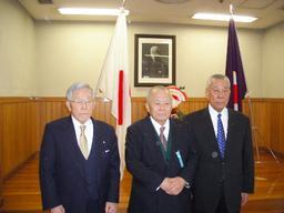Toshiro Daigo, Ichiro Abe, and Yoshimi Osawa at their promotion to tenth degree black belt at the Kodokan, Japan in January 2006
